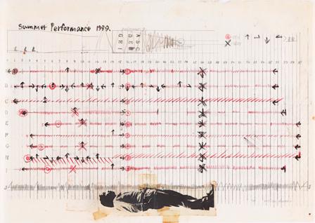 粟津潔『Summer Performance 1979』』(原画) 1979年 色鉛筆、コラージュ、トレーシングペーパー 29.6×42.0 cm 金沢21世紀美術館蔵