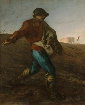 ジャン=フランソワ・ミレー『種をまく人』1850年、油彩・カンヴァス Gift  of  Quincy  Adams Shaw through Quincy Adams Shaw,Jr., and Mrs. Marian Shaw Haughton 17.1485 Photograph ©2014 Museum of Fine Arts, Boston