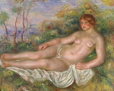 ピエール=オーギュスト・ルノワール『横たわる浴女』1906年、油彩・キャンバス、54.8×65.0cm、国立西洋美術館