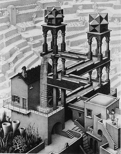 マウリッツ・コルネリス・エッシャー『滝 Waterfall.1961』 Copyright Credit: All M.C. Escher works © the M.C. Escher Company B.V. - Baarn -the Netherlands. Used by permission. All rights reserved. www.mcescher.com