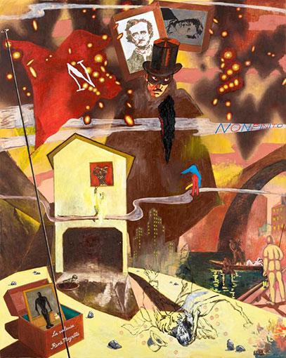 横尾忠則『美の盗賊』2008年 油彩、スタンプ・布 227.3×181.8cm 作家蔵(横尾忠則現代美術館寄託)