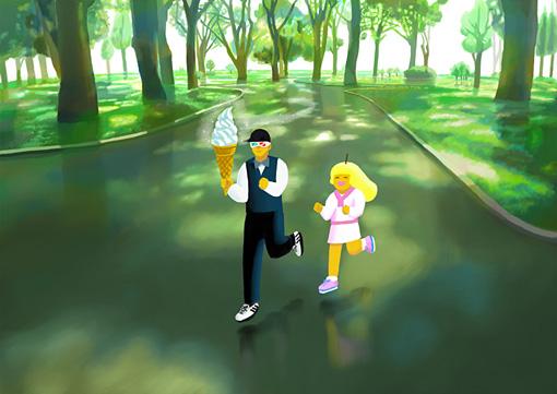 ぬQの新作『カゼノフネ公園』。ぬQの作品にいつも登場するキャラクター、最果一郎(左)と玉川ふたこ(右)