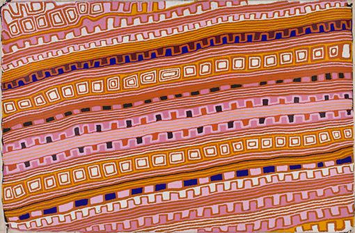 キャニング牛追いルートを描いたアボリジニ・アート / 『キャニング牛追いルートのカントリー』Canning Stock Route Country 2007年 パトリック・チューングライ(パプニヤ・トゥーラ・アーティスト) オーストラリア国立博物館蔵