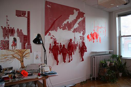 織のニューヨークのアトリエ。飾ってあるのは以前アトリエがあったローワーイーストサイドを舞台にした『I am Here 7/8/08 18:15 East Houston & Chrystie, Lower East Side, NY』という作品