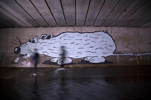 EVERYDAY HOLIDAY SQUAD『UNKNOWN』(2015年)『SIDE CORE - TOKYO WALKMAN』より / 渋谷の地下道を探検し大きなネズミを描いた映像