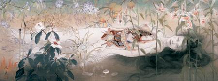 《浄相の持続》 2004年(平成16) 絹本着色、軸 29.5×79.3cm 財団法人平野美術館寄託