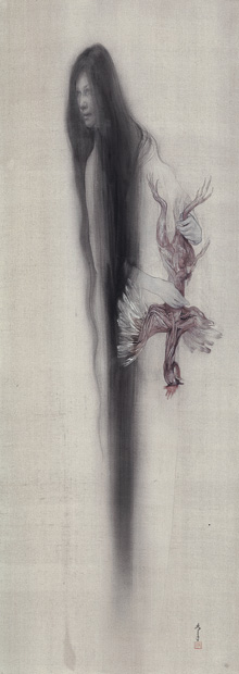 《夜盲症》 2005年(平成17) 絹本着色、軸 138.4×49.5cm 成山明光氏蔵